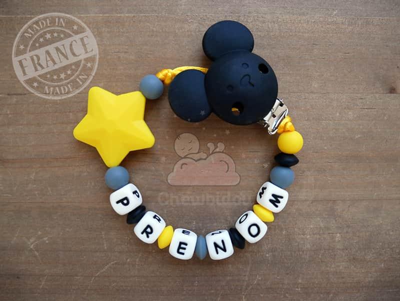 attache tétine étoile pas cher en silicone gris noir jaune