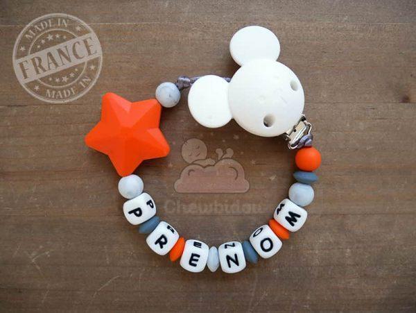 attache tétine étoile pas cher en silicone orange , gris , blanc