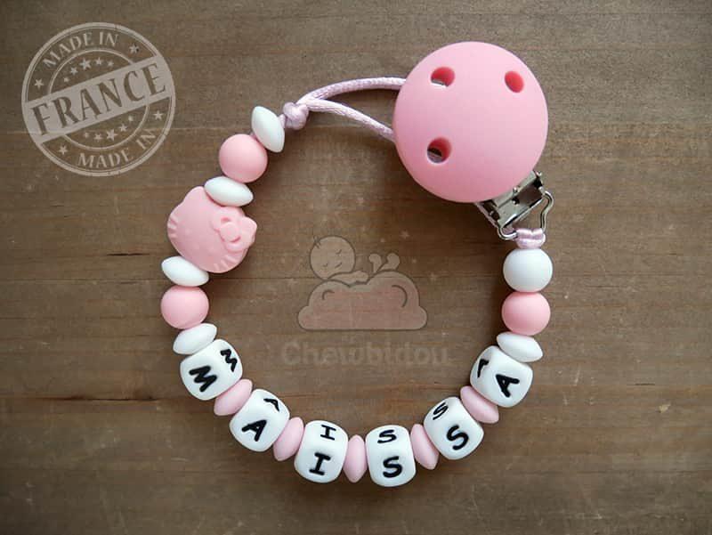 attache tétine bébé fille kitty rose et blanc