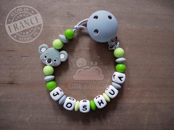 porte sucette prénom garçon thème koala modèle joshua gris et vert