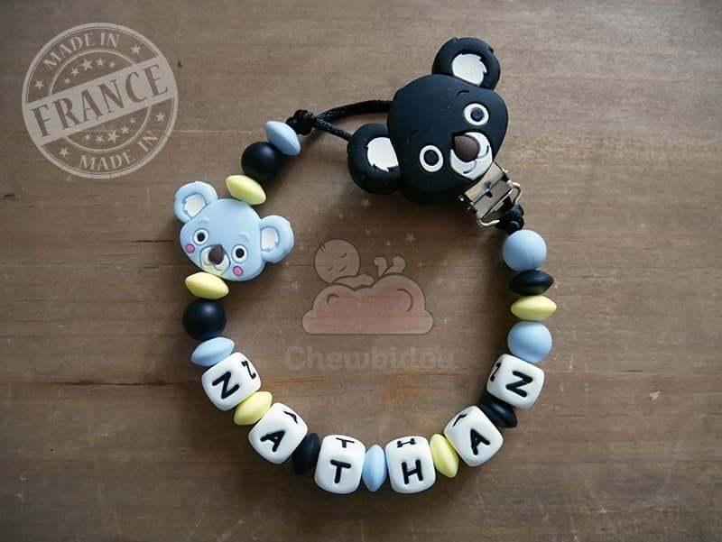 porte sucette prénom garçon avec koala - Bleu pastel et noir