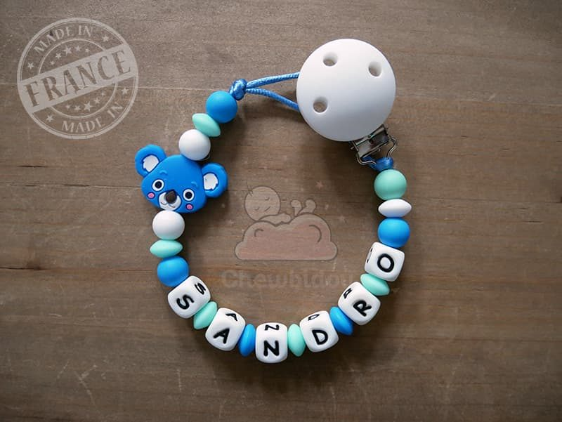 porte sucette prénom garçon modèle koala Bleu et vert d'eau Sandro