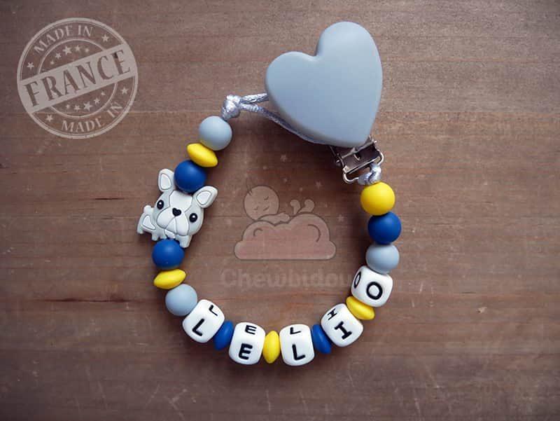 porte sucette personnalisé chien bouledogue français modèle Lelio couleur bleu canard