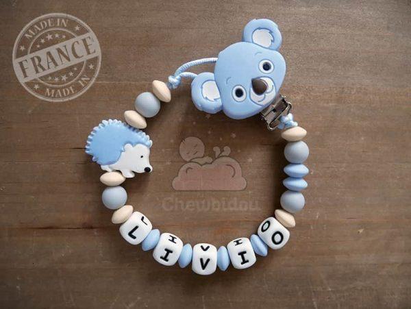 attache tutute hérisson koala bleu pastel et beige modèle Livio