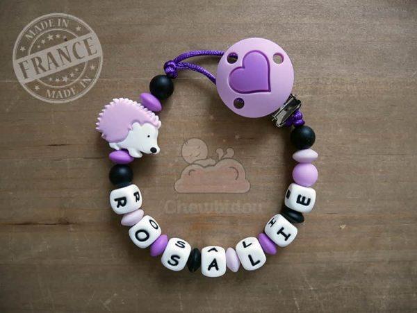 attache tutute hérisson rosalie avec coeur violet et noir