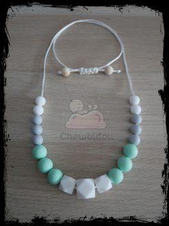 collier portage silicone hexagone blanc menthe