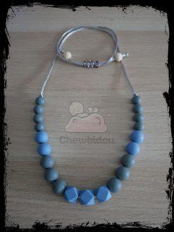 collier portage silicone hexagone bleu gris