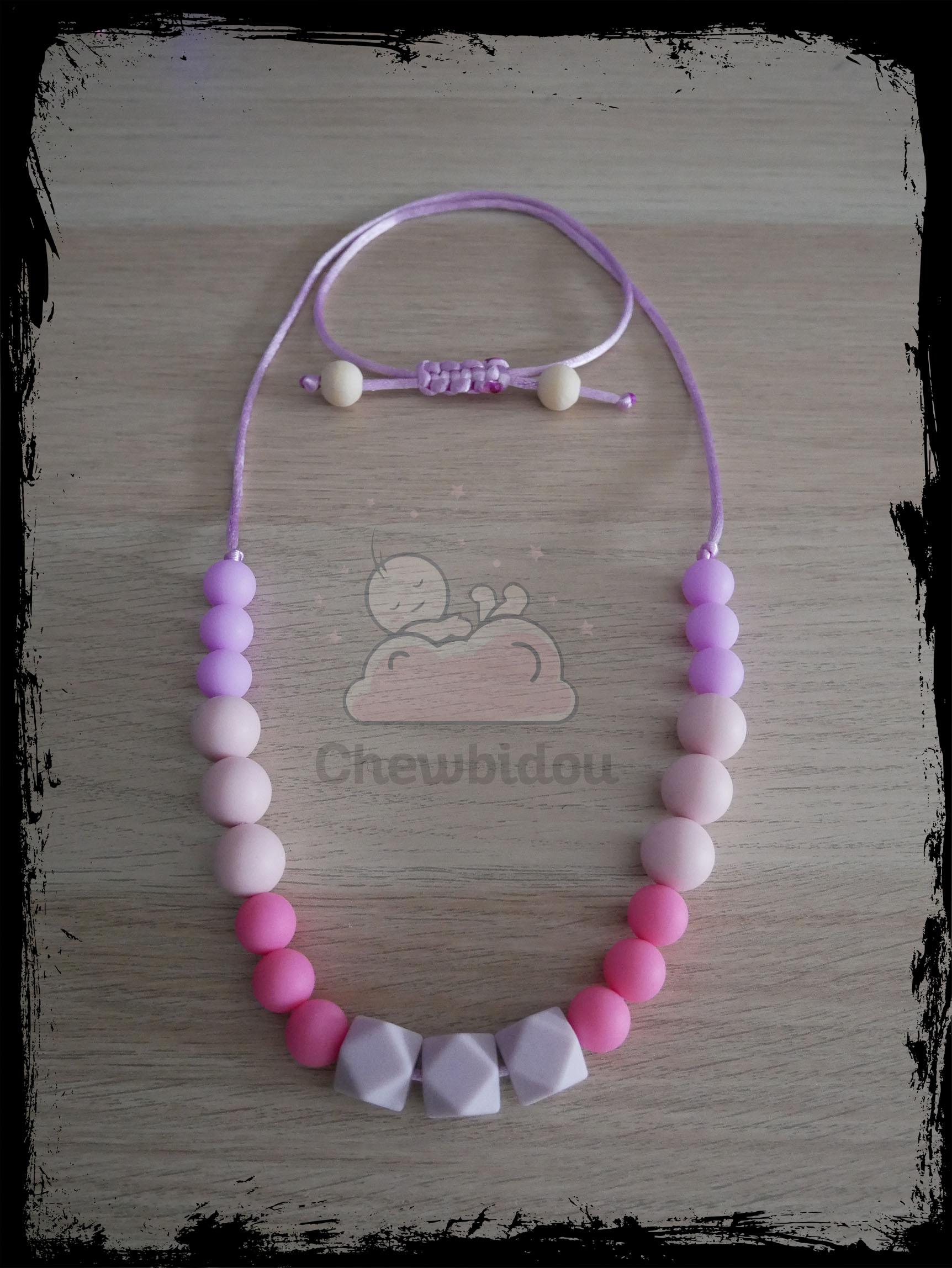 collier portage tout silicone hexagone lilas