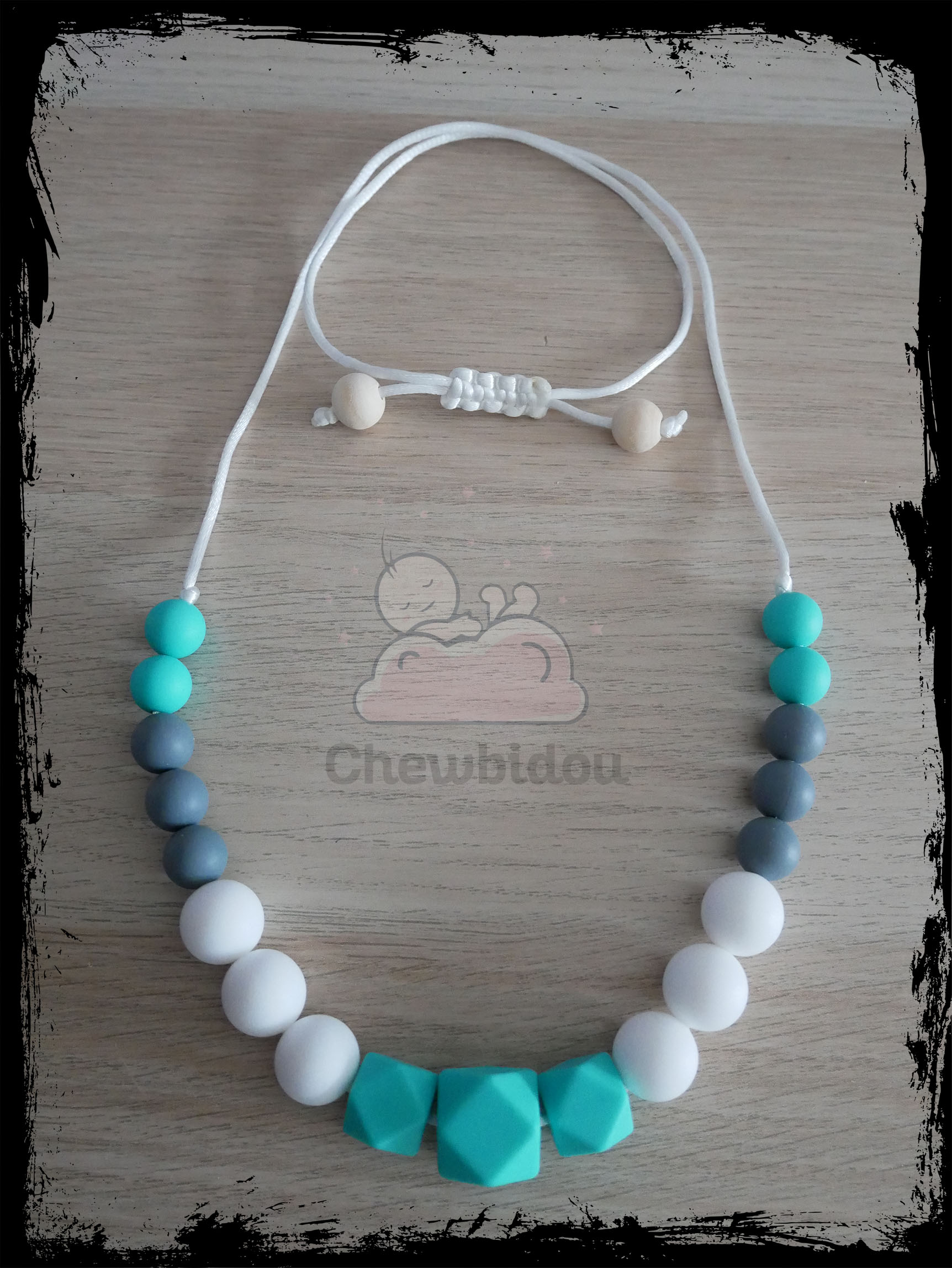 collier portage silicone hexagone turquoise
