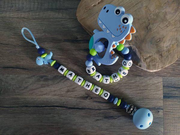 Kit bébé naisssance attache tétine et anneau de dentition dinosaure en silicone