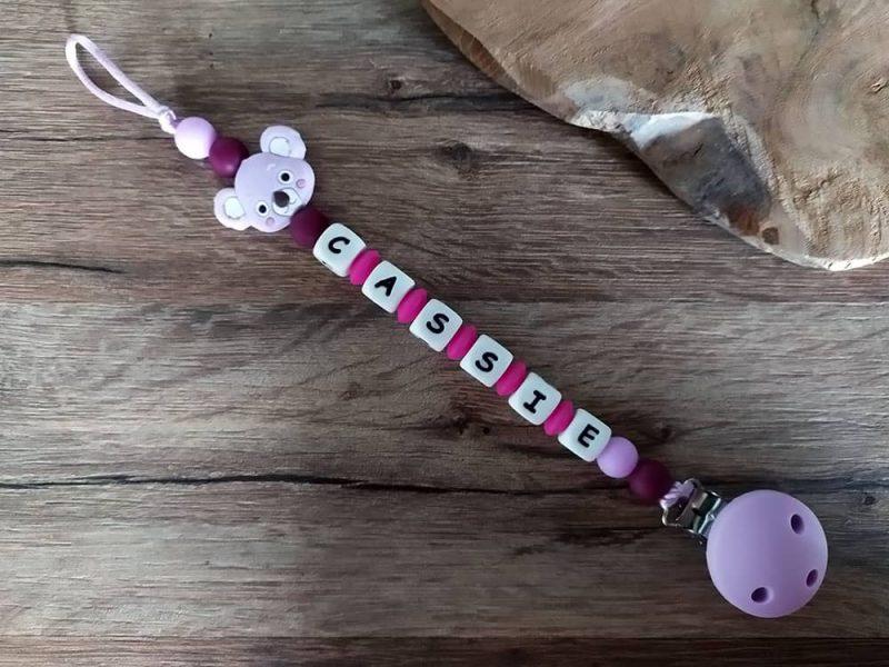 attache tétine personnalisée fille petit koala lilas