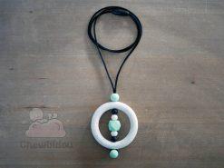 collier portage silicone blanc picte menthe