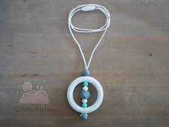 collier portage silicone blanc picte turquoise