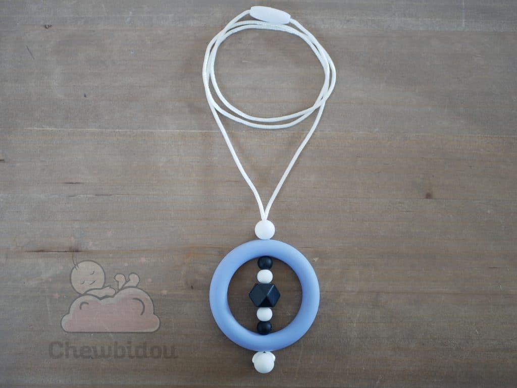 collier portage silicone bleu noir