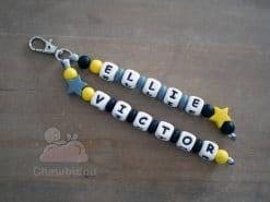 bijou de sac personnalisé étoile gris jaune