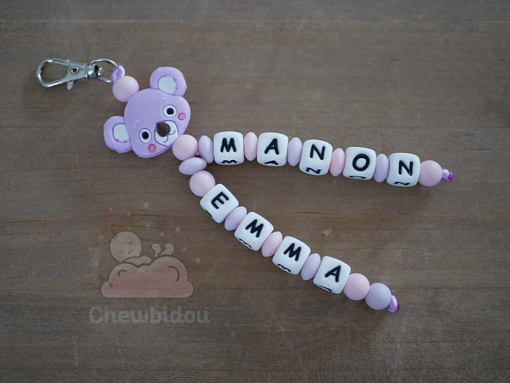 porte clé prenom en perle koala manon et emma couleur lilas