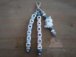 porte clés personnalisé licorne gris prénoms