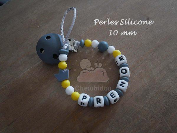 attache sucette perles silicone 10mm petite couronne