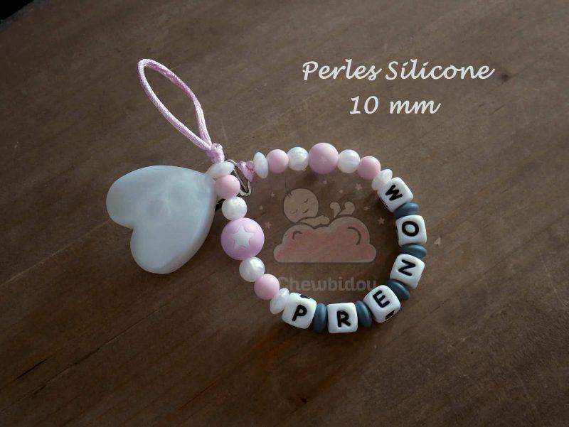 attache sucette perles silicone 10mm