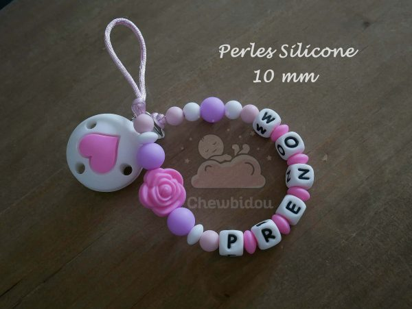 attache sucette perles silicone 10mm