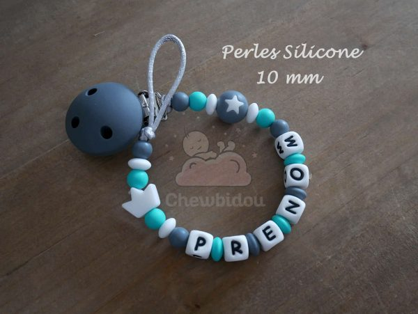 attache sucette perles silicone 10mm couronne