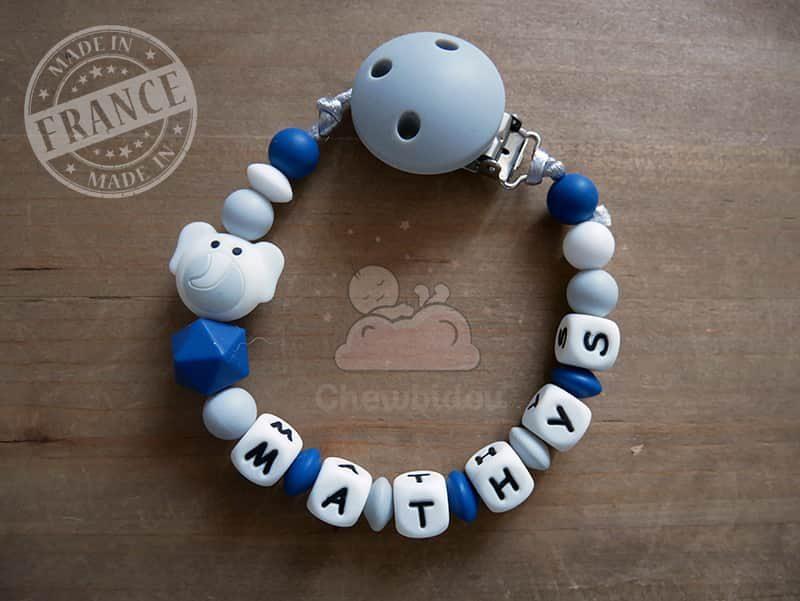 attache tétine bébé éléphant bleu canard prénom mathys
