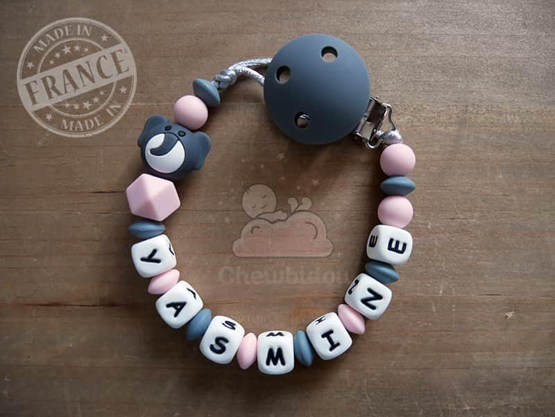 attache tétine bébé éléphant rose prénom yasmine tout silicone