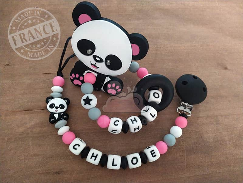 attache et hochet personnalise silicone panda chloe(2)