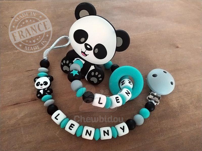 attache et hochet personnalise silicone panda lenny