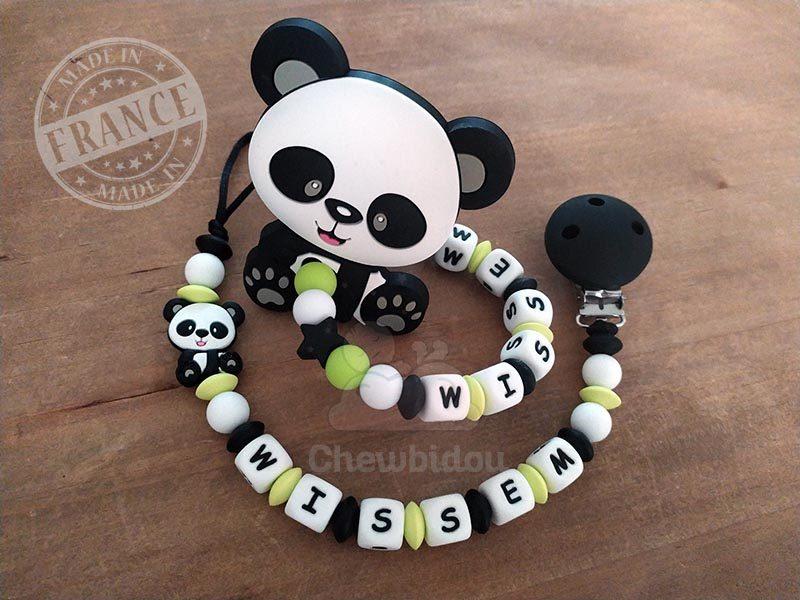 attache et hochet personnalise silicone panda wissem
