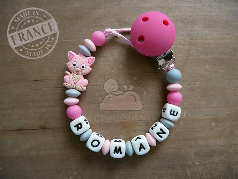 attache tétine personnalisée prénom Romane petit chat