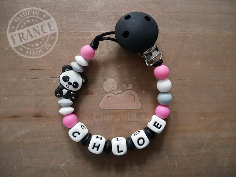 attache sucette au prénom de bébé avec panda pour fille rose et noir modèle chloé
