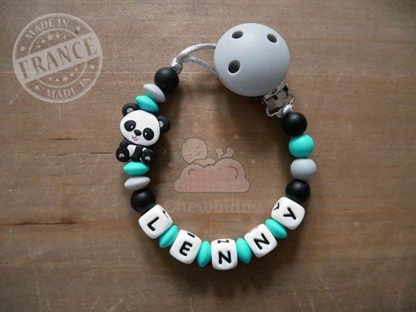 attache sucette au prénom de bébé avec panda turquoise et noir lenny