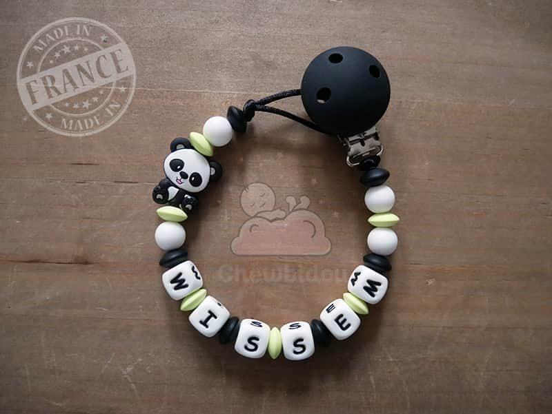attache sucette au prénom de bébé avec panda pour fille ou garçon vert pomme et noir