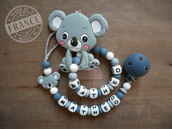attache et hochet personnalise silicone koala matheo