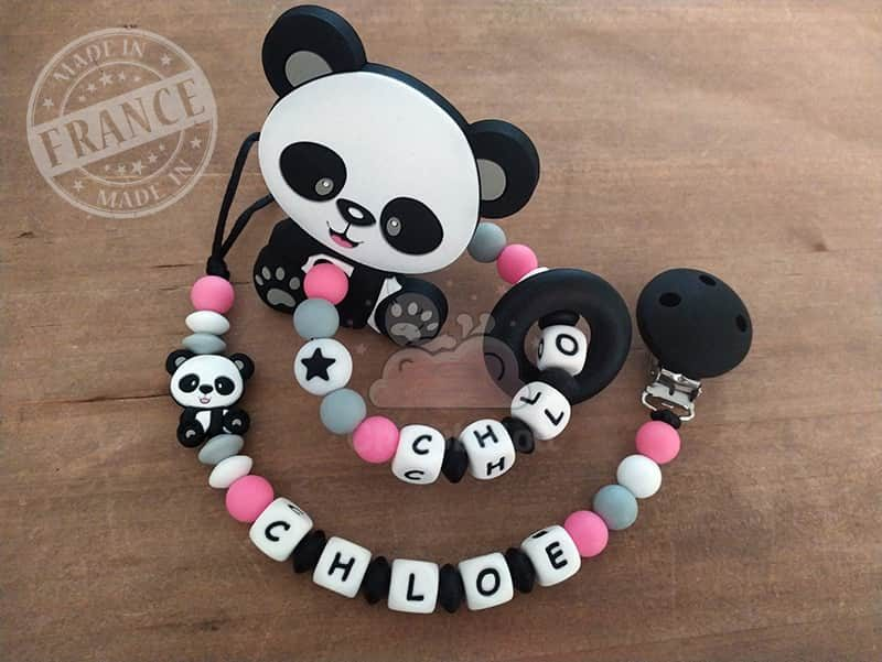 attache et hochet personnalise silicone panda chloe