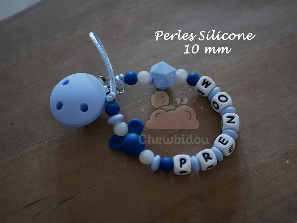 attache tétine personnalisé mini mickey bleu pastel