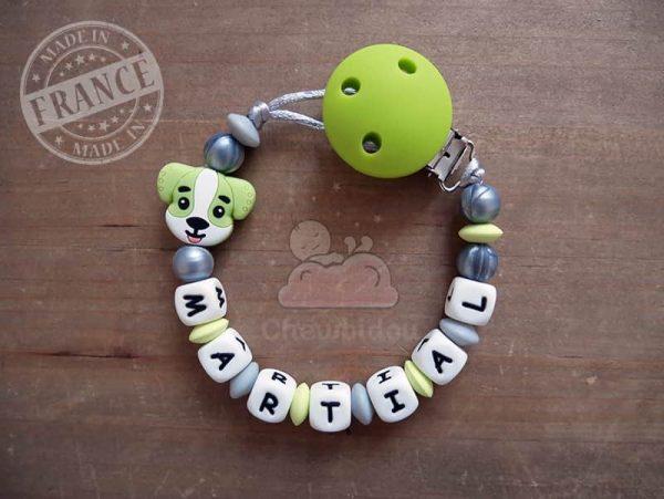 attache tétine silicone chien martial vert pomme et gris métallisé