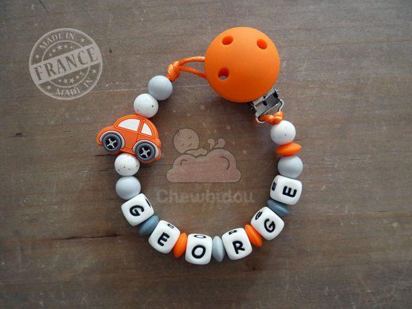 attache tétine silicone personnalisée voiture orange